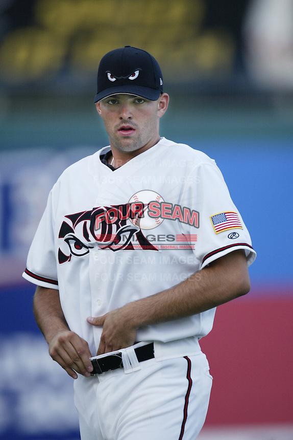 Justin Germano of the Lake Elsinore Storm warms up before pitching during a California League 2002 season game at The Diamond, in Lake Elsinore, California. (Larry Goren/Four Seam Images)