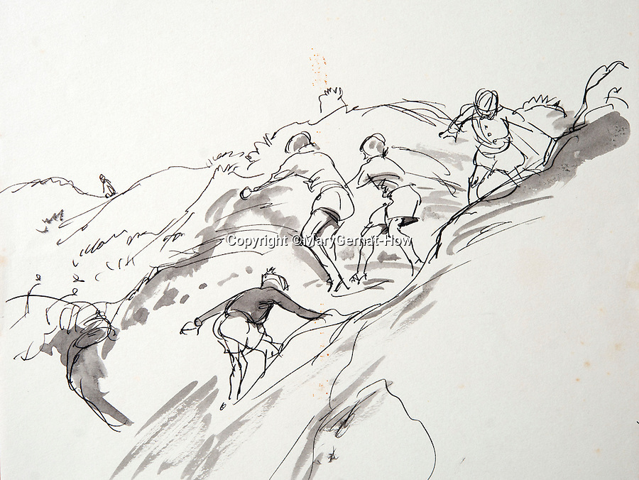 BNPS.co.uk (01202 558833)<br /> Pic: MaryGernat-How/BNPS<br /> <br /> ***Single Use - Not For Archive***<br /> <br /> Mary's sketch of her boys climbing cliffs near their childhood home on the south coast.<br /> <br /> The real family behind Enid Blyton's iconic book covers has been revealed for the first time thanks to a hidden archive of sketches and family photos.<br /> <br /> Mary Gernat, who created the paperback covers for about 100 children's books in the 1960s, would get her young sons to stop mid-play and pose for her while she quickly sketched ideas for books like The Famous Five, the Secret Series, St Clare's and Malory Towers.<br /> <br /> Her son Roger How, 58, has now unveiled some of his mother's never-seen-before original sketches and finished book drafts which capture the classic images of childhood adventure he and his brothers helped create.