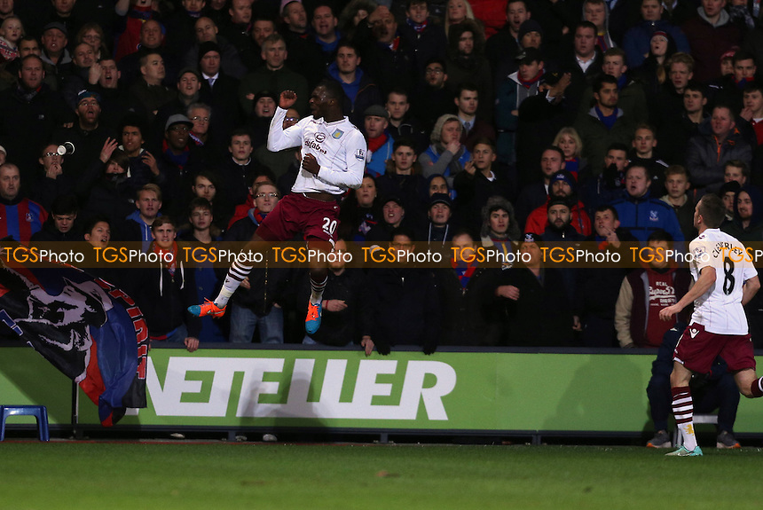 Christian Benteke of Aston Villa celebrates the opener - Crystal Palace vs Aston Villa - Barclays Premier League Football at Selhurst Park, London - 02/12/14 - MANDATORY CREDIT: Simon Roe/TGSPHOTO - Self billing applies where appropriate - contact@tgsphoto.co.uk - NO UNPAID USE