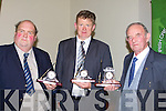 PRESENTATION: Past chairmen and council members of the ICMSA David Diggin (Ballybunnion), William Dennehy (Currow) and Terry O'Connor(Currans) who were presented with Waterford Clocks at the ICMSA Annaul dinner in The Carloton Hotel, Tralee on Friday night..................... ..........