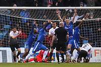 Gillingham players appeal for a goal claiming the ball had crossed the line, but referee, Mr Andy Davies, waved play on and no goal was given during Gillingham vs Peterborough United, Sky Bet EFL League 1 Football at the MEMS Priestfield Stadium on 10th February 2018