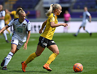 20190810 - ANDERLECHT, BELGIUM : Anderlecht's Sarah Wijnants (left) pictured defending on LSK's Emilie Woldvik (r) during the female soccer game between the Belgian RSCA Ladies – Royal Sporting Club Anderlecht Dames  and the Norwegian LSK Kvinner Fotballklubb ladies , the second game for both teams in the Uefa Womens Champions League Qualifying round in group 8 , saturday 10 th August 2019 at the Lotto Park Stadium in Anderlecht  , Belgium  .  PHOTO SPORTPIX.BE for NTB NO | DAVID CATRY