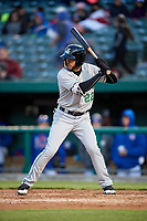 Clinton LumberKings center fielder Luis Liberato (22) at bat during a game against the South Bend Cubs on May 5, 2017 at Four Winds Field in South Bend, Indiana.  South Bend defeated Clinton 7-6 in nineteen innings.  (Mike Janes/Four Seam Images)