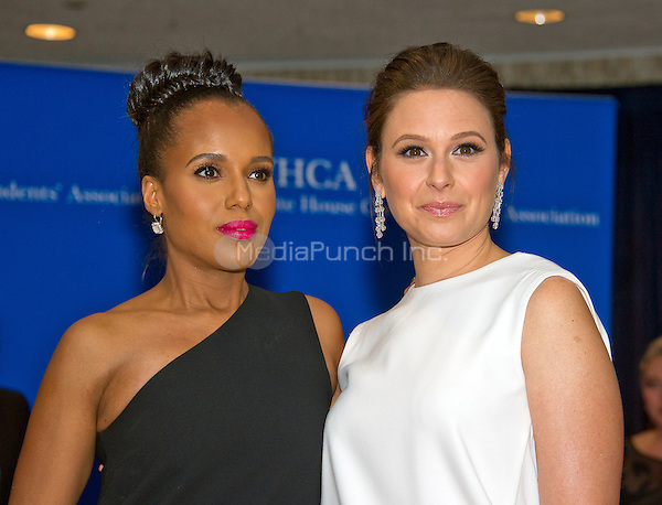 Kerry Washington, left, and Katie Lowes arrive for the 2016 White House Correspondents Association Annual Dinner at the Washington Hilton Hotel on Saturday, April 30, 2016.<br /> Credit: Ron Sachs / CNP<br /> (RESTRICTION: NO New York or New Jersey Newspapers or newspapers within a 75 mile radius of New York City)/MediaPunch