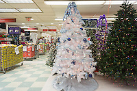Seasonal Christmas display in a KMart store in New York on Tuesday, October 6, 2015.  According to multiple surveys up to one in seven American have already started their holiday shopping while over seven in ten are annoyed with the early promotions.  (© Richard B. Levine)