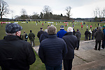 Whitehill Welfare 3 Gala Fairydean Rovers 0, 12/03/2016. Ferguson Park, Rosewell, Scottish Lowland League. A bumper crowd watching the action at Ferguson Park, Rosewell, as Whitehill Welfare take on Gala Fairydean Rovers in a Scottish Lowland League fixture, which the home team won 3-0. The match was one of six arranged by the league and GroundhopUK over the weekend to accommodate groundhoppers, fans who attempt to visit as many football venues as possible. Around 100 fans in two coaches from England participated in the 2016 Lowland League Groundhop and they were joined by other individuals from across the UK which helped boost crowds at the six featured matches. Photo by Colin McPherson.