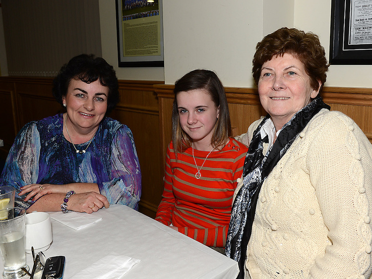 Pauline Kirk, Eimear and Rith Crawley pictured at St mary's GFC Ardee awards night. Photo:Colin Bell/pressphotos.ie