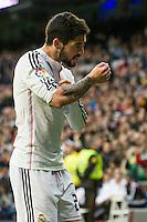 Real Madrid´s Isco celebrates a goal during 2014-15 La Liga match between Real Madrid and Deportivo de la Coruna at Santiago Bernabeu stadium in Madrid, Spain. February 14, 2015. (ALTERPHOTOS/Luis Fernandez) /NORTEphoto.com