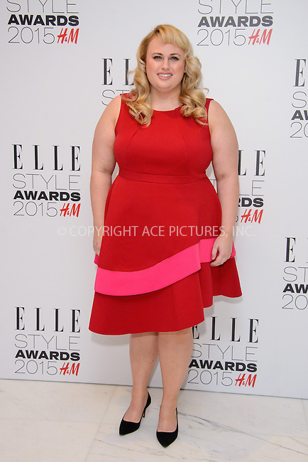 WWW.ACEPIXS.COM<br /> <br /> February 24 2015, London<br /> <br /> Rebel Wilson arriving at the ELLE style awards 2015 at the Walkie Talkie Tower on February 24 2015 in London<br /> <br /> By Line: Famous/ACE Pictures<br /> <br /> <br /> ACE Pictures, Inc.<br /> tel: 646 769 0430<br /> Email: info@acepixs.com<br /> www.acepixs.com