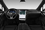 Stock photo of straight dashboard view of a 2017 Tesla Model X 100D 5 Door SUV