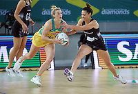 04.09.2016 Silver Ferns Grace Rasmussen and Australia's Gabi Simpson in action during the Netball Quad Series match between the Silver Ferns and Australia played at Margaret Court Arena in Melbourne. Mandatory Photo Credit ©Michael Bradley.