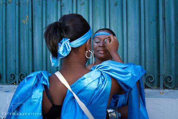 Joy - The Finale by Brian Macfarlane - women in blue applying make up