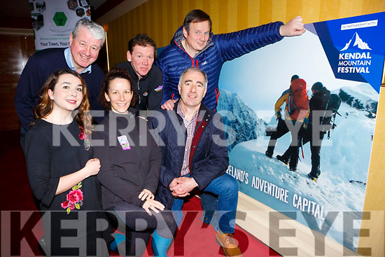 Launching the Killarney Mountain festival in the Killarney Avenue Hotel on Monday evening were front row l-r: Sinead O'Mahony O'Donoghue Ring Hotels, Maureen Hegarty Killarney Mountain Festival, Cllr John Joe Culloty. Back row: Conor Hennigan Killarney Chamber, Piaras Kelly Kiillarney Mountain Festival and David O'Sullivan O'Sullivan bikes