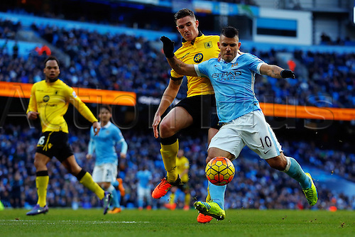 05.03.2016. The Etihad, Manchester, England. Barclays Premier League. Manchester City versus Aston Villa. Sergio Aguero of Manchester City takes a shot on goal