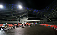 PICTURE BY MARK GREEN/SWPIX.COM ATP  Tour of Abu Dhabi - Yas Island Stage, UAE, 26/02/17<br /> Riders passing under the Yas Viceroy Hotel as rain finally eased off on the final stage of the 2017 Tour of Abu Dhabi