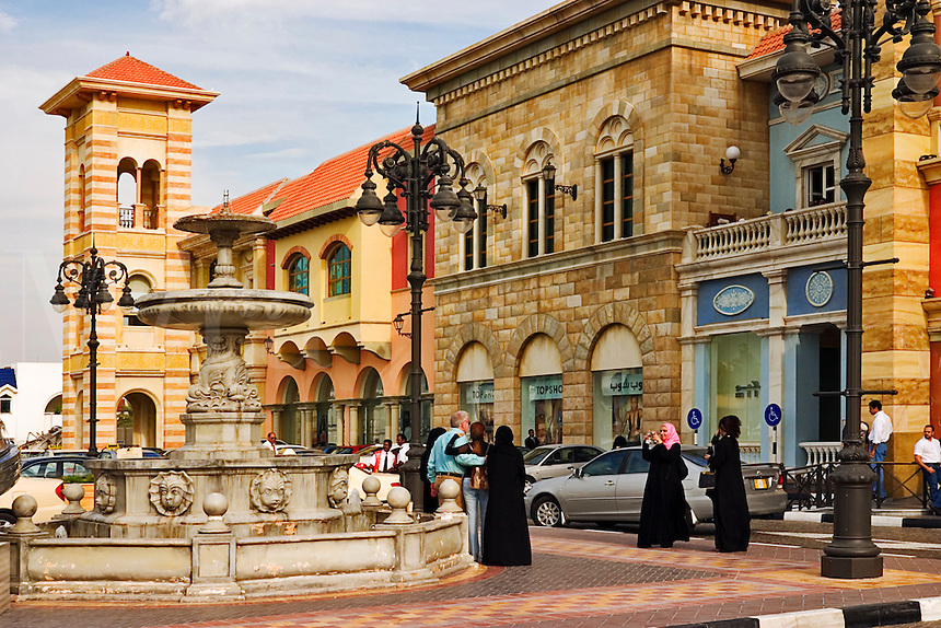 .Dubai. United Arab Emirates. Façade and entrance to Mercato Shopping Mall. Café and shops. Italian style..