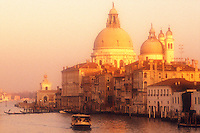 Italy, Venice. The Grand Canal with Santa Maria della Salute and a vaporetto