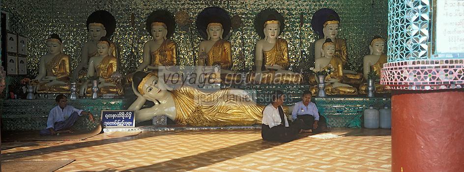 Asie/Birmanie/Myanmar/Yangon: Pagode Paya Shwedagon - Bouddha couché