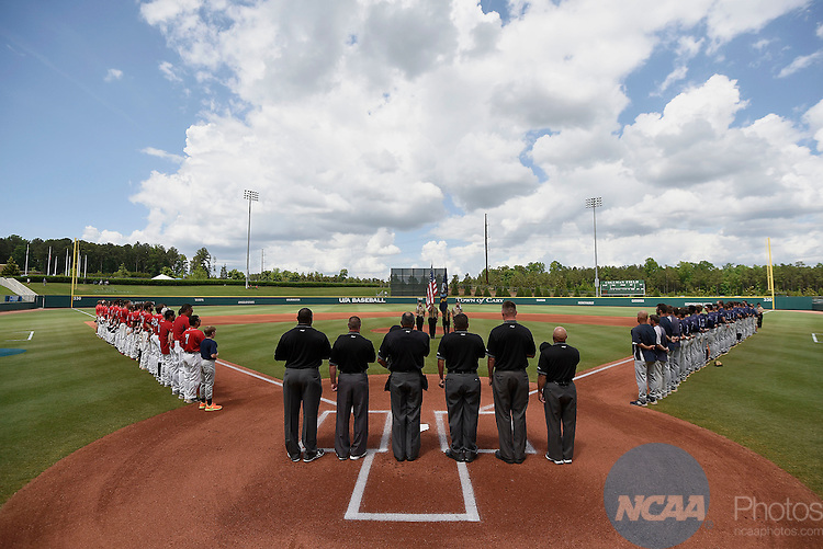 30 MAY 2014:  General view of the national anthem during the Division II Men's Baseball Championship between Tampa and Catawba held at the USA Baseball National Training Complex in Cary, NC.  Tampa defeated Catawba 3-1 to win the national title.  Grant Halverson/NCAA Photos