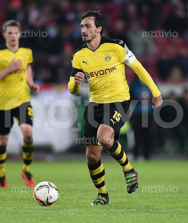 FUSSBALL DFB POKAL VIERTELFINALE SAISON  2015/2016  VfB Stuttgart - Borussia Dortmund              09.02.2016 Mats Hummels (Borussia Dortmund)