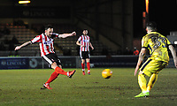 Lincoln City's Neal Eardley scores the opening goal<br /> <br /> Photographer Chris Vaughan/CameraSport<br /> <br /> The EFL Sky Bet League Two - Lincoln City v Cheltenham Town - Tuesday 13th February 2018 - Sincil Bank - Lincoln<br /> <br /> World Copyright &copy; 2018 CameraSport. All rights reserved. 43 Linden Ave. Countesthorpe. Leicester. England. LE8 5PG - Tel: +44 (0) 116 277 4147 - admin@camerasport.com - www.camerasport.com
