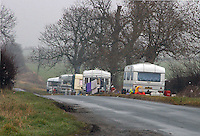Gypsy caravans at side of road near Driffield, Yorkshire.
