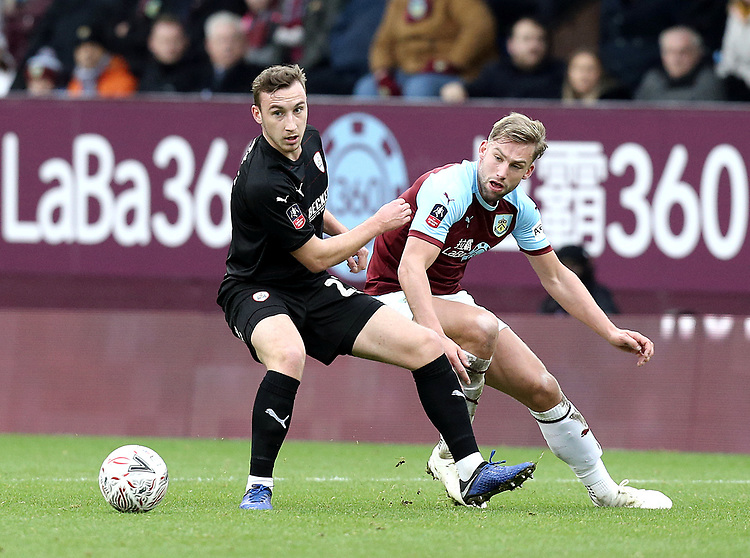 Barnsley's Mike-Steven Bahre vies for possession with Burnley's Charlie Taylor<br /> <br /> Photographer Rich Linley/CameraSport<br /> <br /> Emirates FA Cup Third Round - Burnley v Barnsley - Saturday 5th January 2019 - Turf Moor - Burnley<br />  <br /> World Copyright © 2019 CameraSport. All rights reserved. 43 Linden Ave. Countesthorpe. Leicester. England. LE8 5PG - Tel: +44 (0) 116 277 4147 - admin@camerasport.com - www.camerasport.com