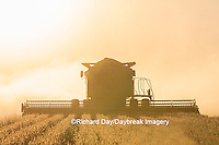 63801-07106 Farmer harvesting soybeans at sunset, Marion Co., IL