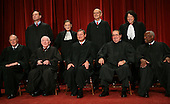 "Washington, DC - September 29, 2009 -- The Justices of the United States Supreme Court posed for their official ""family "" group photo and then allowed members of the media to take photos afterwards at the U.S. Supreme Court in Washington, D.C. on Tuesday, September 29, 2009. Front row, left to right: Associate Justice Anthony M. Kennedy; Associate Justice John Paul Stevens; Chief Justice of the United States John G. Roberts, Jr.; Associate Justice Antonin Scalia; and Associate Justice Clarence Thomas.  Back row, left to right: Associate Justice Samuel A. Alito, Jr.; Associate Justice Ruth Bader Ginsburg; Associate Justice Stephen G. Breyer; and Associate Justice Sonia Sotomayor..Credit: Gary Fabiano / Pool via CNP"