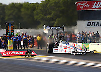 Aug 15, 2014; Brainerd, MN, USA; NHRA top fuel dragster driver Morgan Lucas during qualifying for the Lucas Oil Nationals at Brainerd International Raceway. Mandatory Credit: Mark J. Rebilas-