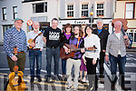 Launching the Cahersiveen Mountain Roots Music Weekend in Camos on Friday night were l-r; Cathal Cusack, Paul Evans, Michael O'Connell(CCU Sponsor), Celine Kavanagh, Daragh Lynch, Deirdre Garvey, Elma Shine(CCU Manager), Ritchie MacCarthy & Dave Marriott.