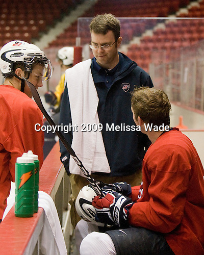 Derek Stepan (US - 22), Jason Hodges (US - Trainer), Danny Kristo (US - 17) - Team USA practiced on Friday, August 14, 2009, in the 1980/Herb Brooks (international-sized) Rink prior to their third game versus Team Russia during the 2009 USA Hockey National Junior Evaluation Camp in Lake Placid, New York.