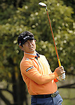 JEJU, SOUTH KOREA - APRIL 23:  Y.E. Yang of Korea tees off on the 14th hole during the fog-delayed Round One of the Ballantine's Championship at Pinx Golf Club on April 23, 2010 in Jeju island, South Korea. Photo by Victor Fraile / The Power of Sport Images