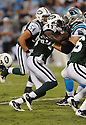 JAMES IHEDIGBO, of the New York Jets in action during the Jets game against the Carolina Panthers  at Bank of America Stadium in Charlotte, N.C.  on August 21, 2010.  The Jets beat the Panthters 9-3 in the second week of preseason games...