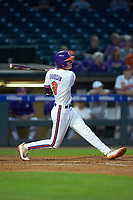 Logan Davidson (8) of the Clemson Tigers at bat against the Duke Blue Devils in Game Three of the 2017 ACC Baseball Championship at Louisville Slugger Field on May 23, 2017 in Louisville, Kentucky. The Blue Devils defeated the Tigers 6-3. (Brian Westerholt/Four Seam Images)