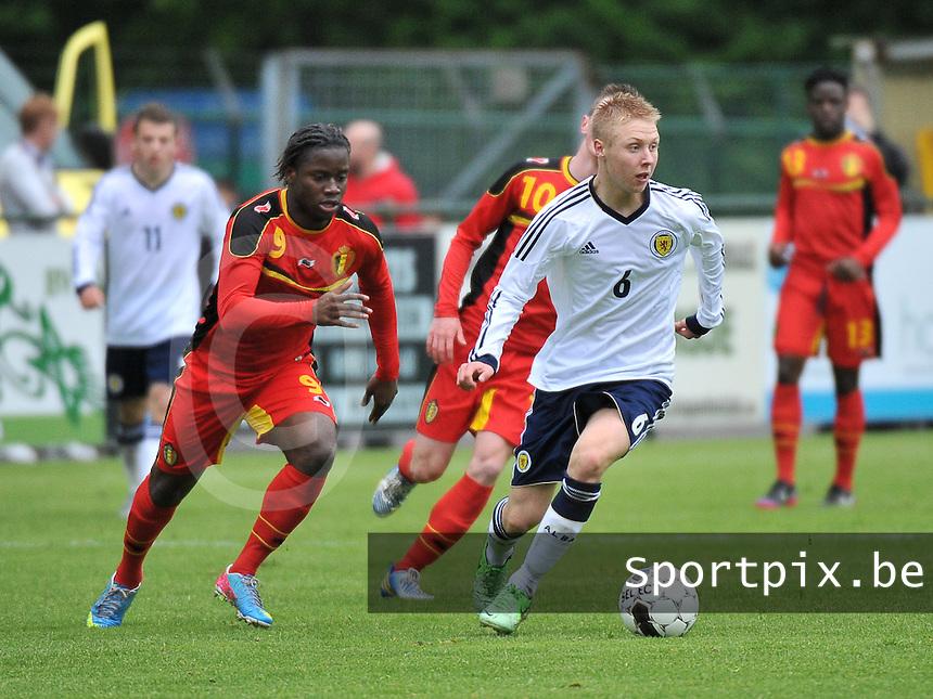 Scotland U19 - Belgium U19 : Jamie Lindsay (6) and Nathan Kabasele (9).foto DAVID CATRY / Nikonpro.be