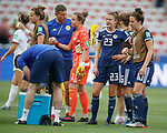 09.06.2019 England v Scotland Women: Goalie Lee Alexander is commiserated by the coaching staff