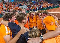 The Hague, The Netherlands, September 17, 2017,  Sportcampus , Davis Cup Netherlands - Chech Republic, Fifth match : Dutch team celebrates their win<br /> Photo: Tennisimages/Henk Koster