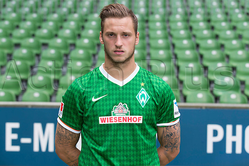 29.07.2013. Bremen, Germany.  The picture shows German Soccer Bundesliga club SV Werder Bremen's Marko Arnautovic during the official photocall for the season 2013-14 in Bremen.