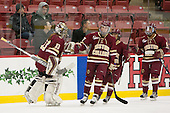 Katie Burt (BC - 33), Meghan Grieves (BC - 17), Kristyn Capizzano (BC - 7), Toni Ann Miano (BC - 18) - The visiting Boston College Eagles defeated the Harvard University Crimson 2-0 on Tuesday, January 19, 2016, at Bright-Landry Hockey Center in Boston, Massachusetts.
