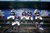 20 September 2012: Quentin Pourcel, Matthieu Brelle-Andrade, Thomas Meuley, Thomas Langloys, Anthony Piquet are seen in the dugout prior to Spain 8-0 win over France, at the 2012 World Baseball Classic Qualifier round, in Jupiter, Florida, USA.