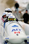 20 November 2005: Pierre Lueders, pilot of the Canada 1 sled, crosses the finish line for a 9th place finish at the 2005 FIBT AIT World Cup Men's 4-Man Bobsleigh Tour at the Verizon Sports Complex, in Lake Placid, NY. Mandatory Photo Credit: Ed Wolfstein.