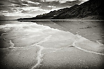 Black and white of water reflection in Badwater, Death Valley, California
