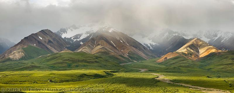 Morning light on the hills of Polychrome, Denali National Park, Interior, Alaska.