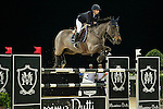 Jane Richard Philips on Dieudonne de Guldenboom competes during the AirbusTrophy at the Longines Masters of Hong Kong on 20 February 2016 at the Asia World Expo in Hong Kong, China. Photo by Li Man Yuen / Power Sport Images