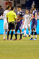 4 of the highest paid players in the MLS LA Galaxy  players David Beckham and Landon Donovan. New York Red Bull players Juan Pablo Angel and Rafael Marquez receive a scolding from referee Ricardo Salazar. The New York Red Bulls beat the LA Galaxy 2-0 at Home Depot Center stadium in Carson, California on Friday September 24, 2010.