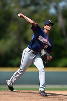 Minnesota Twins pitcher Felix Jorge (27) during a minor league spring training game against the Baltimore Orioles on March 28, 2015 at the Buck O'Neil Complex in Sarasota, Florida.  (Mike Janes/Four Seam Images)