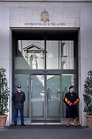 entrance to the residence of Pope Santa Marta, Vatican City.The Vatican's gendarme corps  of Vatican City State (Italian: Corpo della Gendarmeria dello Stato della Città del Vaticano) is the gendarmerie, or police and security force, of Vatican City and the extraterritorial properties of the Holy See.<br /> The 130-member corps is led by an Inspector General, currently Domenico Giani,The corps is responsible for security, public order, border control, traffic control, criminal investigation, and other general police duties in Vatican City. 2019