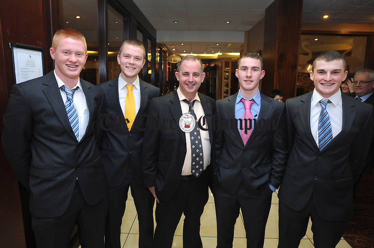 Bernard Keane, treasurer of the Clare County Board, with Jamie Shanahan, Eric Cunningham, Colm Galvin and Seadhna Morey, Clare minor hurlers, at Clare GAA's medal presentation dinner at the West County Hotel in Ennis. Photograph by Declan Monaghan