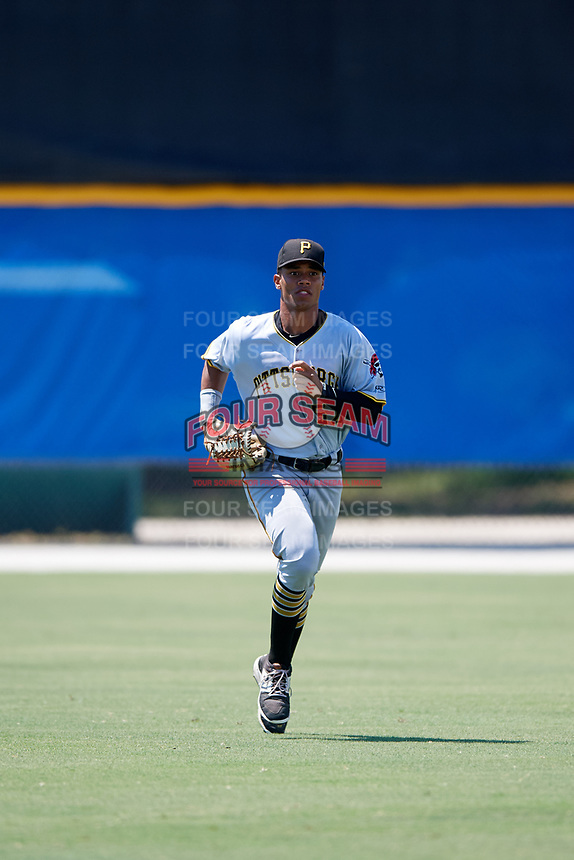 GCL Pirates left fielder Calvin Mitchell (52) jogs to the dugout during a game against the GCL Blue Jays on July 20, 2017 at Bobby Mattick Training Center at Englebert Complex in Dunedin, Florida.  GCL Pirates defeated the GCL Blue Jays 11-6 in eleven innings.  (Mike Janes/Four Seam Images)
